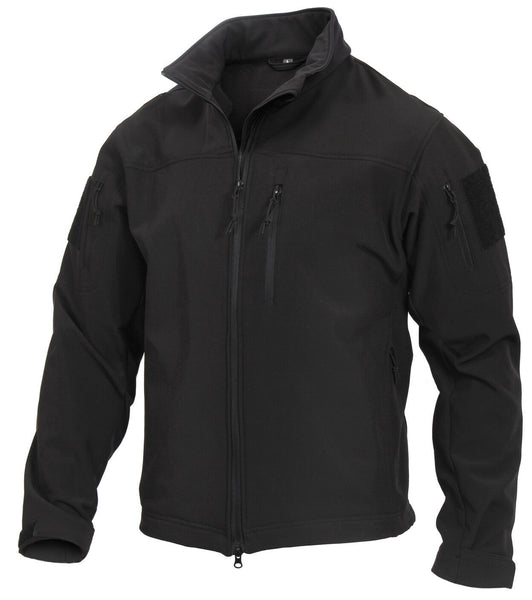 Tactical Softshell Uniform Jacket CCW Stealth Ops Black Waterproof Rothco 3577