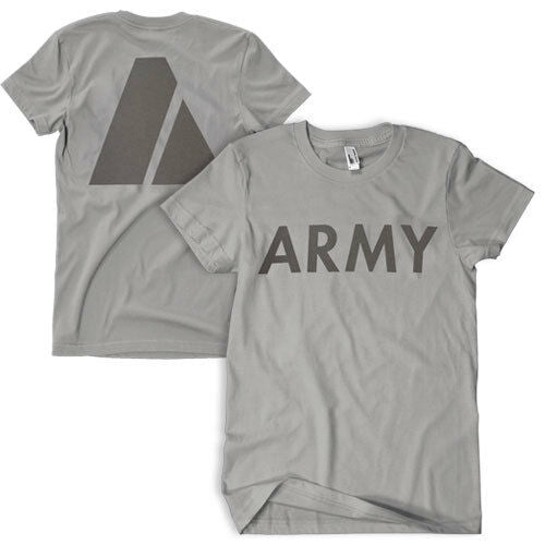 US army pt t-shirt physical fitness shirt reflective print fox 64-554