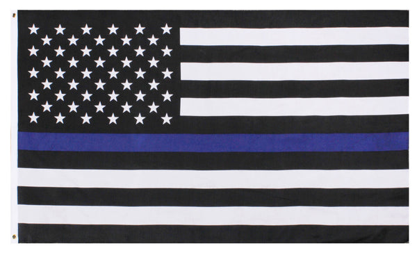 police flag usa us thin blue line 3 feet by 5 feet polyester rothco 14455