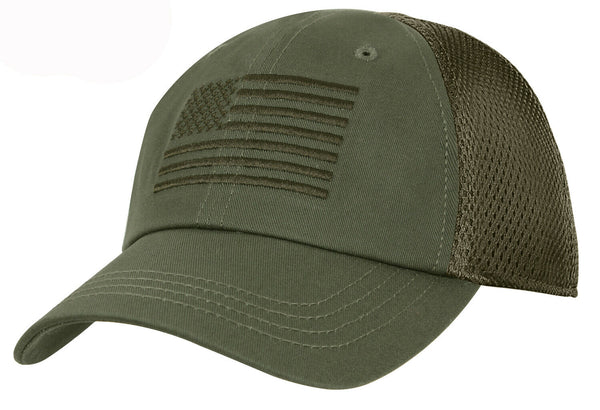OD Tactical Mesh Back Cap With US Embroidered Flag USA Olive Drab Hat 5224