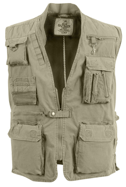 Mens Safari Travel Vest Outback Adventure Khaki Huntilng Camping Rothco 7570