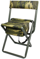 Woodland Camo Deluxe Portable Folding Chair Stool with Pouch Back Straps 4578