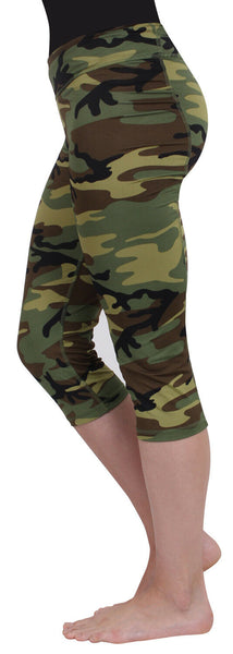 Womens Woodland Camo Performance Work out Fitness Capri Pants Rothco 4471