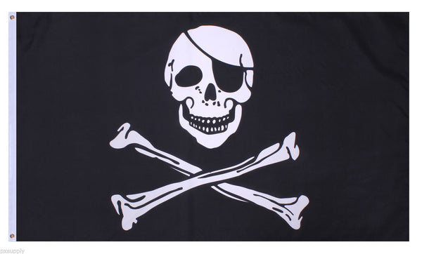 Jolly Roger Pirate Flag 3' x 5' Black Polyester Rothco 1464