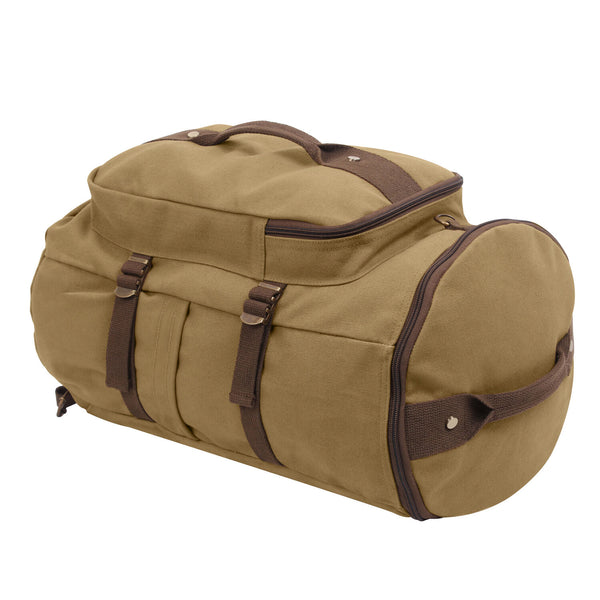 Duffel Bag Backpack Convertible Brown Canvas 19 inches Rothco 2225