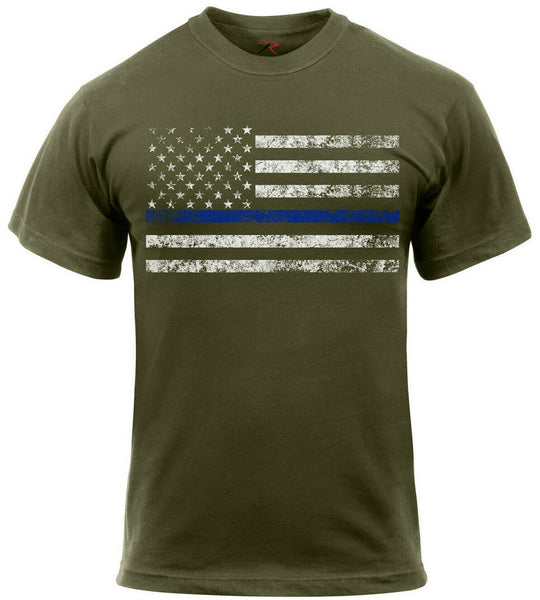 Police Thin Blue Line T-shirt USA US Flag Olive Drab Tee Shirt Rothco 1092