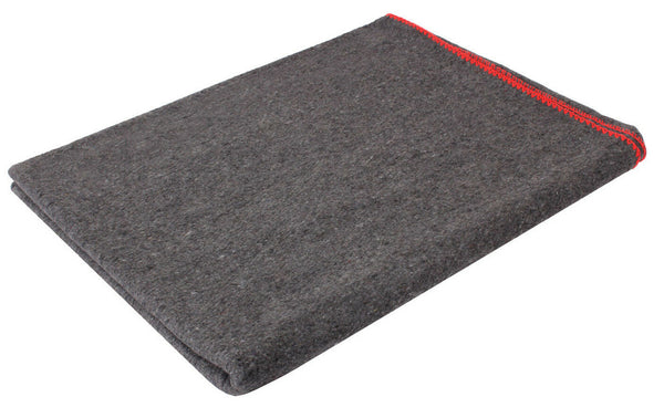 "Wool Blanket Military Rescue Style Grey Red Stitching 60"" X 80"" Rothco 10429"
