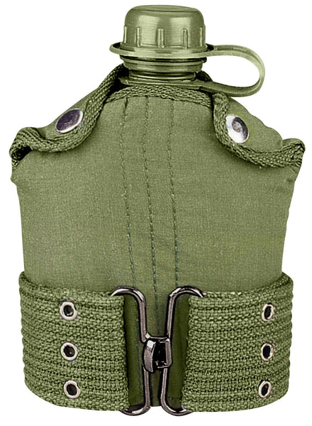 Olive Drab Plastic Canteen With Cover Canvas Pistol Belt GI Type Canteen Kit
