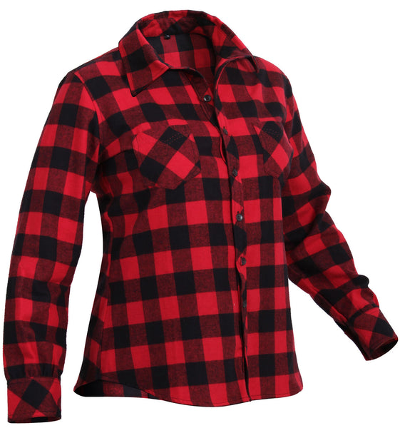 Womens Red Plaid Button Down Flannel Shirt Rothco 55739