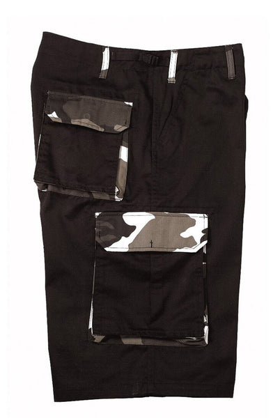 military style cargo shorts black with camo accents rothco 7795