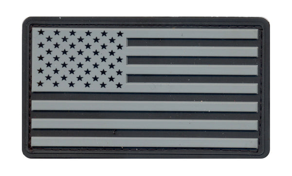 patch us flag usa pvc tactial hook backing black silver rothco 27781