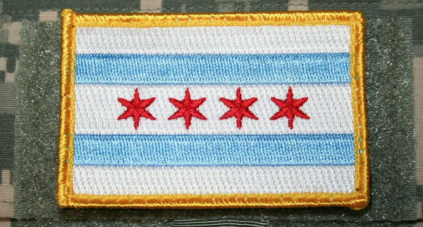 "chicago illinois flag patch embroidered hook and loop backing tactical 3"" x 2"""