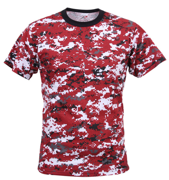 Camo T-shirt Red Digital Camouflage Military Style Various Sizes Rothco 5434