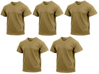 army acu ocp t-shirt 5 pack military shirts brown moisture wicking rothco 9574