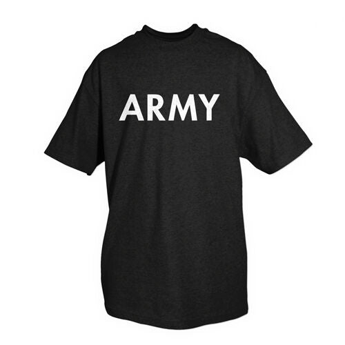 Military T-shirt US Army White Print Black Shirt Fox 64-612