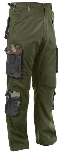 cargo pants camo accent pockets olive drab green vintage style cargo rothco 2146