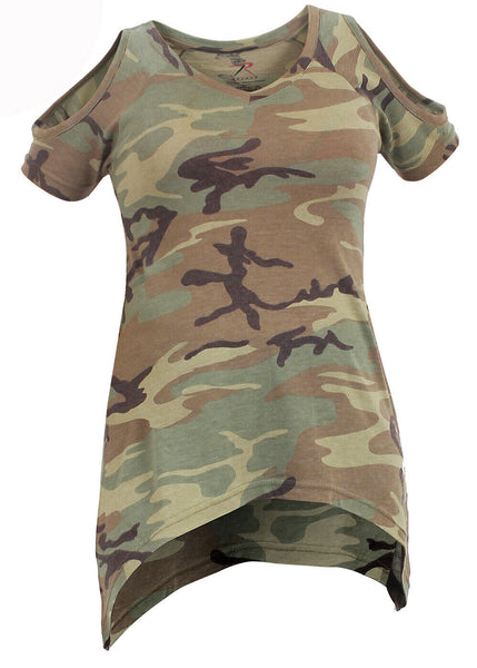Womens Camo Shirt Cold Shoulder Top Woodland Camouflage Form Fit Rothco 4610