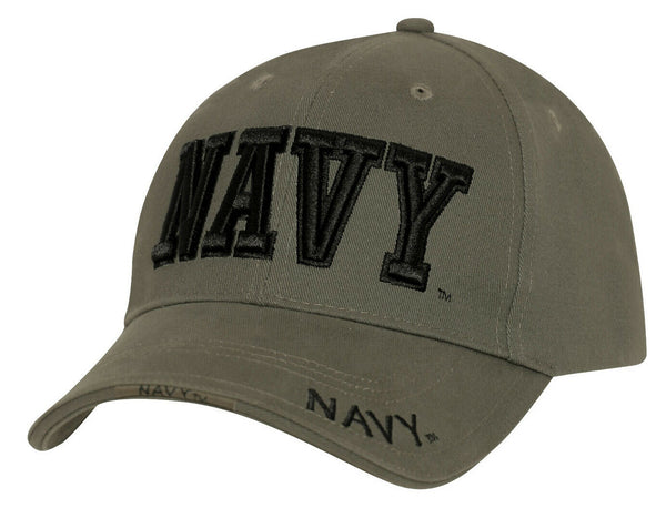 Baseball Hat USN US Navy Military Ball Cap Hat Green 3 d Embroidery Rothco 3941