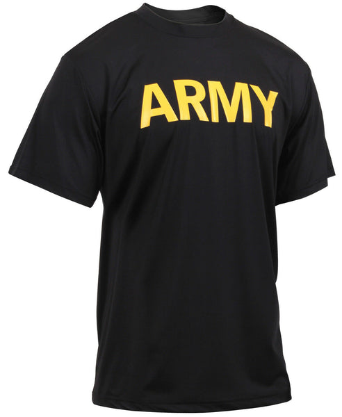 US Army PT t-shirt Black Moisture Wicking Performance Shirt Rothco 46020