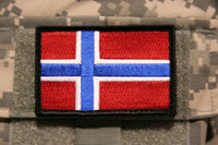 "norway flag patch embroidered hook and loop norwegian tactical 3"" x 2"""