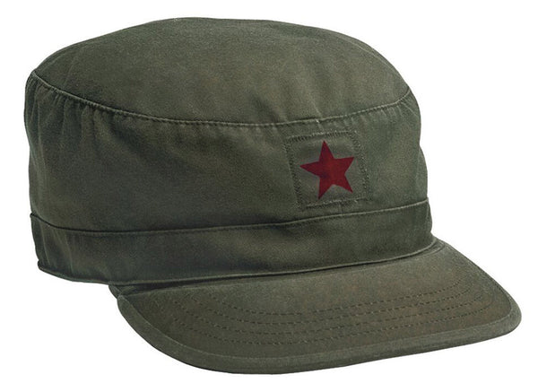 Military Vintage Style Fatigue Cap Uniform Hat Red Star Olive Drab Rothco 4518