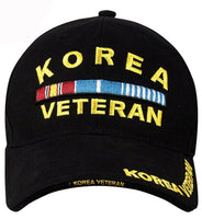 Korea War Veteran Black Hat Baseball Cap Ballcap Rothco 9421