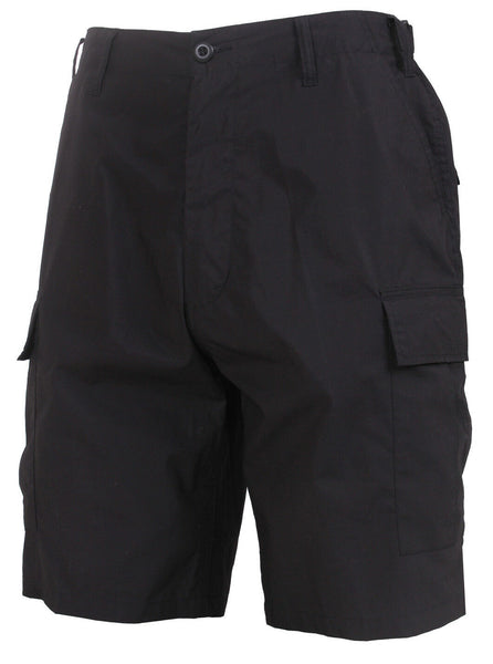 Black Tactical BDU Shorts Lightweight Cotton Fabric Adjustable Waist Rothco 3651