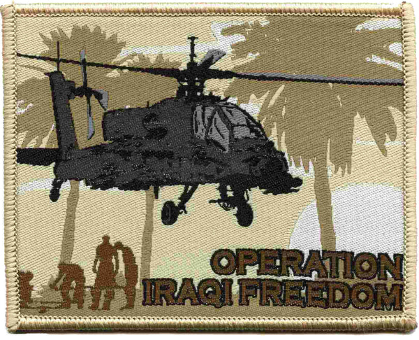 Military OIF Patch Iraq Operation Iraqi Freedom Apache Helicopter Genuine