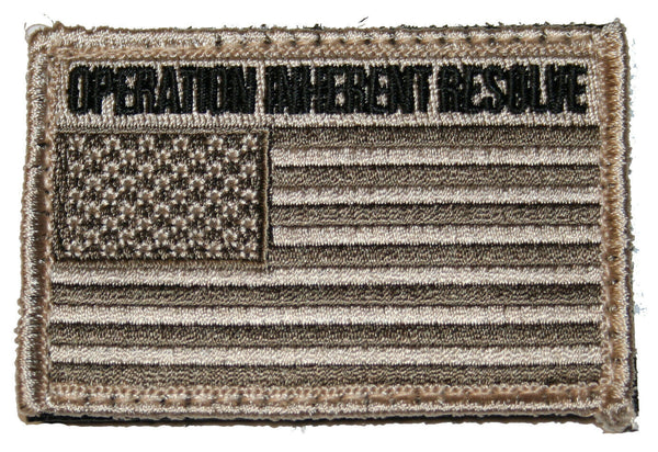 "Tan US Flag Patch Military Tactical Operation Inherent Resolve Syria 3"" x 2"""