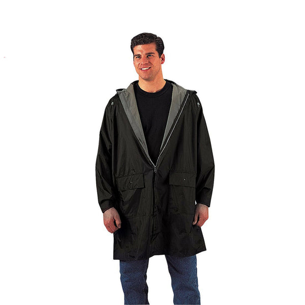Rain Jacket 3/4 Length Hooded Underarm Vents Black or Blue Rothco 3759 3749