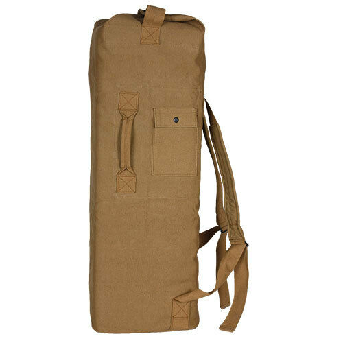 duffle bag double strap backpack coyote brown canvas fox 40-38
