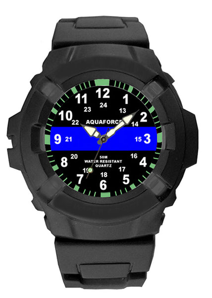 police thin blue line watch aquaforce water resistant rubber band rothco 4381