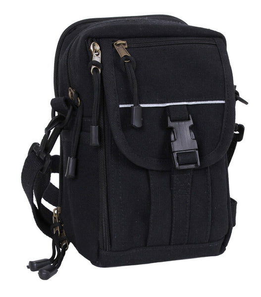 Passport Travel Pouch Small Canvas Shoulder Bag Black Rothco 99146