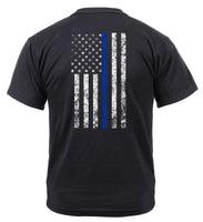 Police Thin Blue Line T-shirt Shield Tee USA Flag Black Shirt Rothco 2937