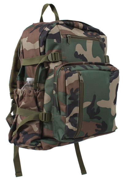 backpack woodland camo school travel pack adjustable straps rothco 88557