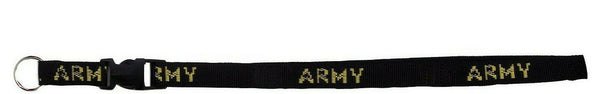 "army neck strap black key ring chain id holder neck lanyard 32"" rothco 2701"