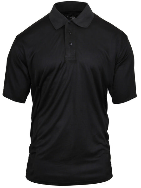 Polyester Polo Shirt Moisture Wicking Uniform Shirt Black Rothco 2291