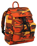 Canvas Day Pack Orange Camo Backpack Water Resistant Rothco 2382