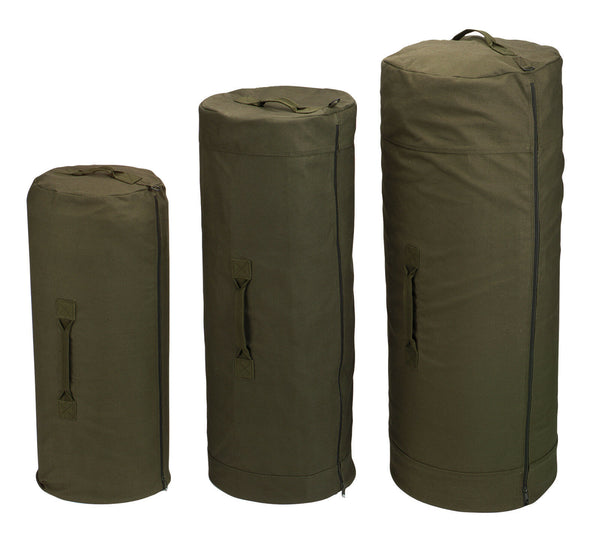 DUFFLE BAG CANVAS SIDE ZIPPER BLACK OR OLIVE DRAB 3 SIZES AVAILABLE  ROTHCO 3488
