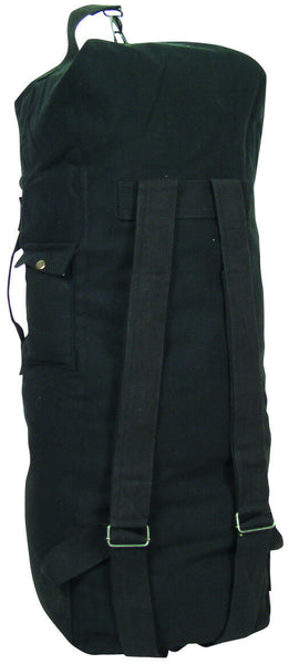 duffle bag double strap backpack black canvas fox 40-36