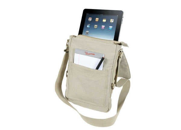 tablet netbook tech bag shoulder vintage style canvas various colors rothco 5795