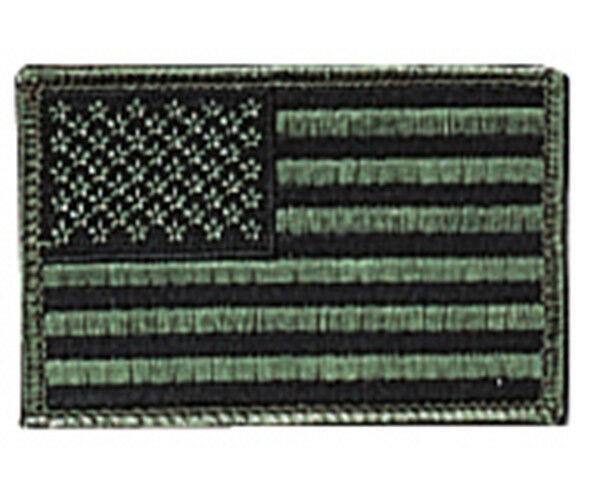 US FLAG SUBDUED GREEN BLACK PATCH 1778