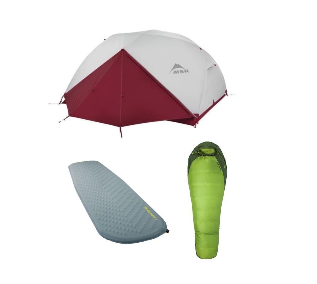 Two person tent, sleeping bag, and sleeping pad.