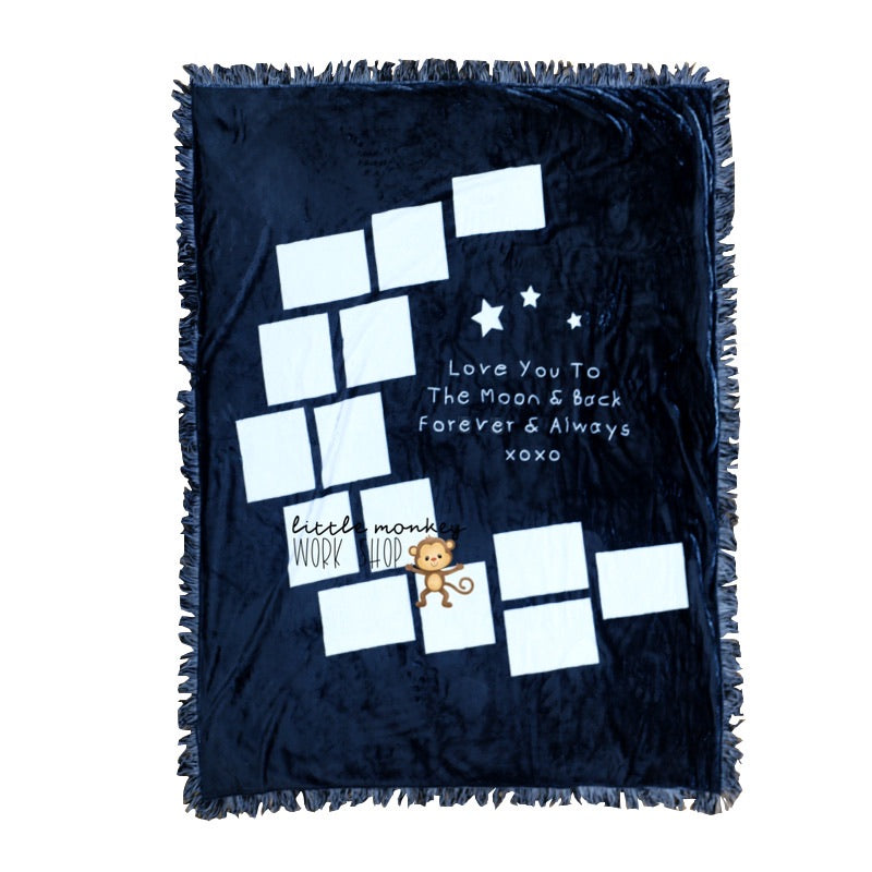 blue blanket with white spaces for photos in the shape of a moon. says love you forever xoxo