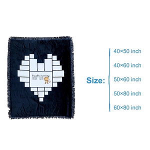 blue throw blanket with fringe and a heart shape with blank spaces for photos