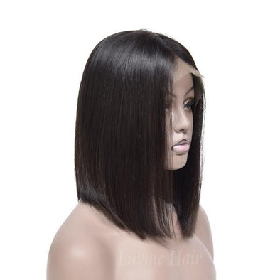 QT Short Bob Body Wig For Black Women Lace Front Human Hair Black Straight Wig The Same As Picture