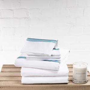 Aqua Blue Corded Bedding Set from Beaumont & Brown