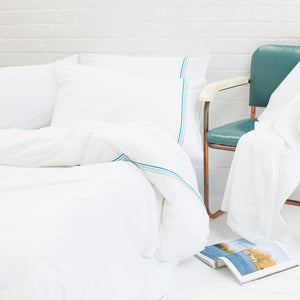 Aqua Blue Corded Duvet Cover from Beaumont & Brown
