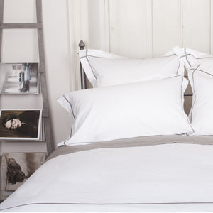 Grey Cross Border Duvet Cover by Beaumont & Brown