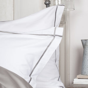 Grey Cross Border Oxford Style Pillowcases by Beaumont & Brown